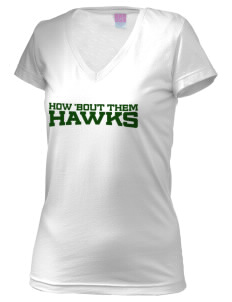 Mountain Valley Academy Hawks Juniors' Fine Jersey V-Neck Longer Length T-shirt
