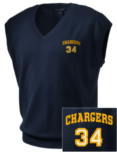 Jetton Junior High School Chargers Embroidered Men's Fine-Gauge V-Neck Sweater Vest