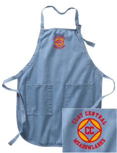 Clay Central School Meadowlarks Embroidered Full-Length Apron with Pockets