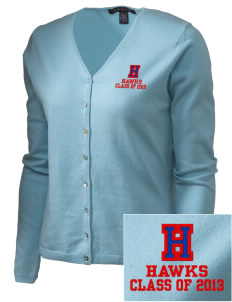 Hickory Elementary School Hawks Embroidered Women's Stretch Cardigan Sweater