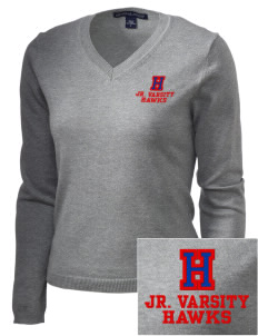 Hickory Elementary School Hawks Embroidered Women's V-Neck Sweater