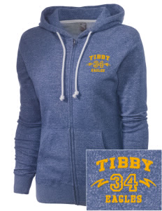 Tibby Elementary School Eagles Embroidered Women's Marled Full-Zip Hooded Sweatshirt