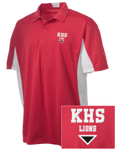 Kerman High School Lions Embroidered Men's Side Blocked Micro Pique Polo