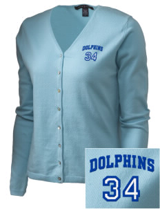 Saint Mary Elementary School Dolphins Embroidered Women's Stretch Cardigan Sweater