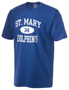 Saint Mary Elementary School Dolphins  Russell Men's NuBlend T-Shirt