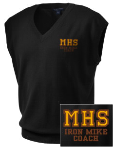 McCorristin Catholic High School Iron Mike Embroidered Men's Fine-Gauge V-Neck Sweater Vest