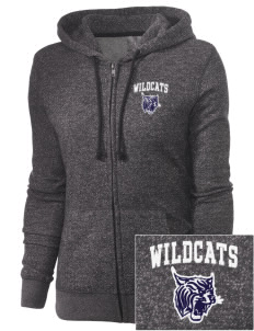 St. Nicholas of Tolentine High School Wildcats Embroidered Women's Marled Full-Zip Hooded Sweatshirt