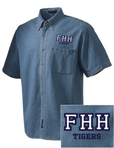 Fourteen Holy Helpers School Tigers  Embroidered Men's Denim Short Sleeve