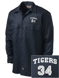 Fourteen Holy Helpers School Tigers Embroidered Dickies Men's Long-Sleeve Workshirt