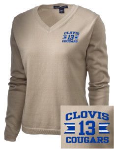 Clovis High School Cougars Embroidered Women's V-Neck Sweater