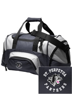 St. Perpetua Catholic School Panthers Embroidered Small Colorblock Duffel