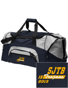 Saint John The Baptist School Trojans Embroidered Colorblock Duffel Bag