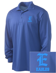 Eckstein Middle School Eagles Embroidered Men's Long Sleeve Micropique Sport-Wick Sport Shirt