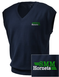 Saint Margaret Mary School Hornets Embroidered Men's Fine-Gauge V-Neck Sweater Vest