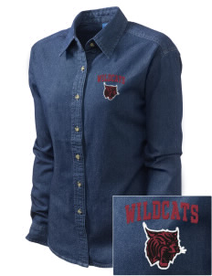 Calvary Lutheran School Wildcats Embroidered Women's Long-Sleeve Denim Shirt