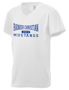 Rainier Christian Middle School Mustangs Kid's V-Neck Jersey T-Shirt
