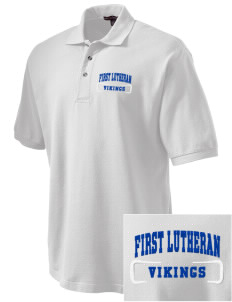 First Lutheran School Vikings Embroidered Tall Men's Pique Polo