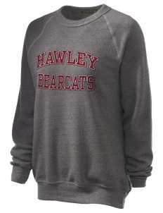 Hawley Middle School Bearcats Unisex Alternative Eco-Fleece Raglan Sweatshirt with Distressed Applique