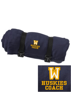 Whittier Elementary School Huskies Embroidered Fleece Blanket with Strap
