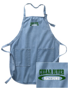 Cedar River School Raccoons Embroidered Full-Length Apron with Pockets