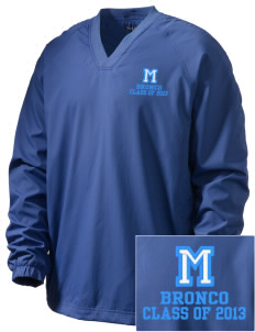 Middltown Middle School bronco Embroidered Men's V-Neck Raglan Wind Shirt
