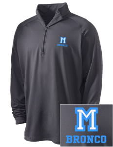 Middltown Middle School bronco Embroidered Men's Stretched Half Zip Pullover