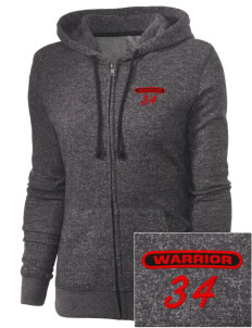 Howard D. Woodson Sr. High Warrior Embroidered Women's Marled Full-Zip Hooded Sweatshirt