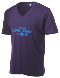 Alpha Omega Academy We don't have one.  We have a logo Alternative Men's 3.7 oz Basic V-Neck T-Shirt