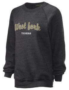 West Fork High School Tigers Unisex Alternative Eco-Fleece Raglan Sweatshirt with Distressed Applique