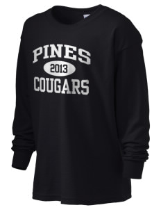 Pines Elementary School Cougars Kid's 6.1 oz Long Sleeve Ultra Cotton T-Shirt