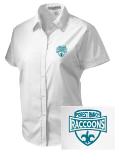 Forest Ranch Elementary School Raccoons Embroidered Women's Short Sleeve Easy Care, Soil Resistant Shirt