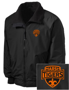 Marsh Elementary School Tigers Embroidered Men's Fleece-Lined Jacket
