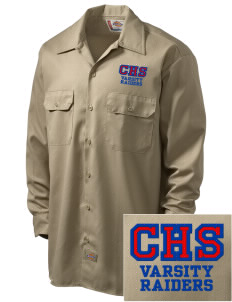 Caruthers High School Raiders Embroidered Dickies Men's Long-Sleeve Workshirt