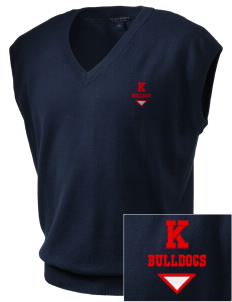 Kratt Elementary School Bulldogs Embroidered Men's Fine-Gauge V-Neck Sweater Vest