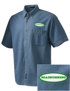 Westmorland Union Elementary School Roadrunners  Embroidered Men's Denim Short Sleeve