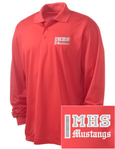 Mojave High School Mustangs Embroidered Men's Long Sleeve Micropique Sport-Wick Sport Shirt