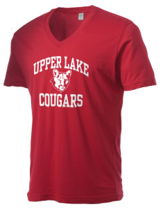 Upper Lake High School Cougars Alternative Men's 3.7 oz Basic V-Neck T-Shirt
