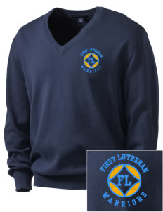 First Lutheran School Warriors Embroidered Men's V-Neck Sweater