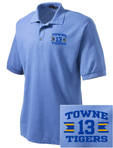 Towne Elementary School Tigers Embroidered Men's Silk Touch Polo