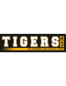 "San Fernando High School Tigers Bumper Sticker 11"" x 3"""