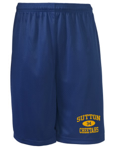 "Sutton Elementary School Cheetahs Long Mesh Shorts, 9"" Inseam"