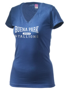 Buena Park Junior High School Stallions Juniors' Fine Jersey V-Neck Longer Length T-shirt