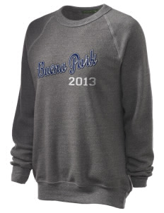 Buena Park Junior High School Stallions Unisex Alternative Eco-Fleece Raglan Sweatshirt with Distressed Applique