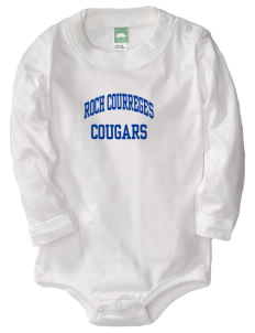 Roch Courreges Elementary School Cougars  Baby Long Sleeve 1-Piece with Shoulder Snaps
