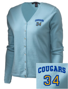 Roch Courreges Elementary School Cougars Embroidered Women's Stretch Cardigan Sweater