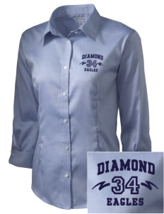 Diamond Elementary School Eagles Embroidered Women's 3/4 Sleeve Non-Iron