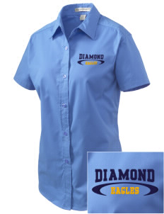 Diamond Elementary School Eagles Embroidered Women's Easy Care Short Sleeve Shirt
