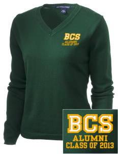 Bowman Elementary School Bulls Embroidered Women's V-Neck Sweater