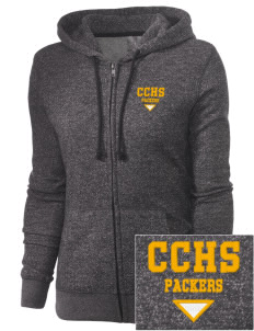 Colquitt County High School Packers Embroidered Junior's Marled Full-Zip Hooded Sweatshirt