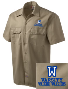 Waikiki Elementary School Waikiki Warriors Embroidered Dickies Men's Short-Sleeve Workshirt